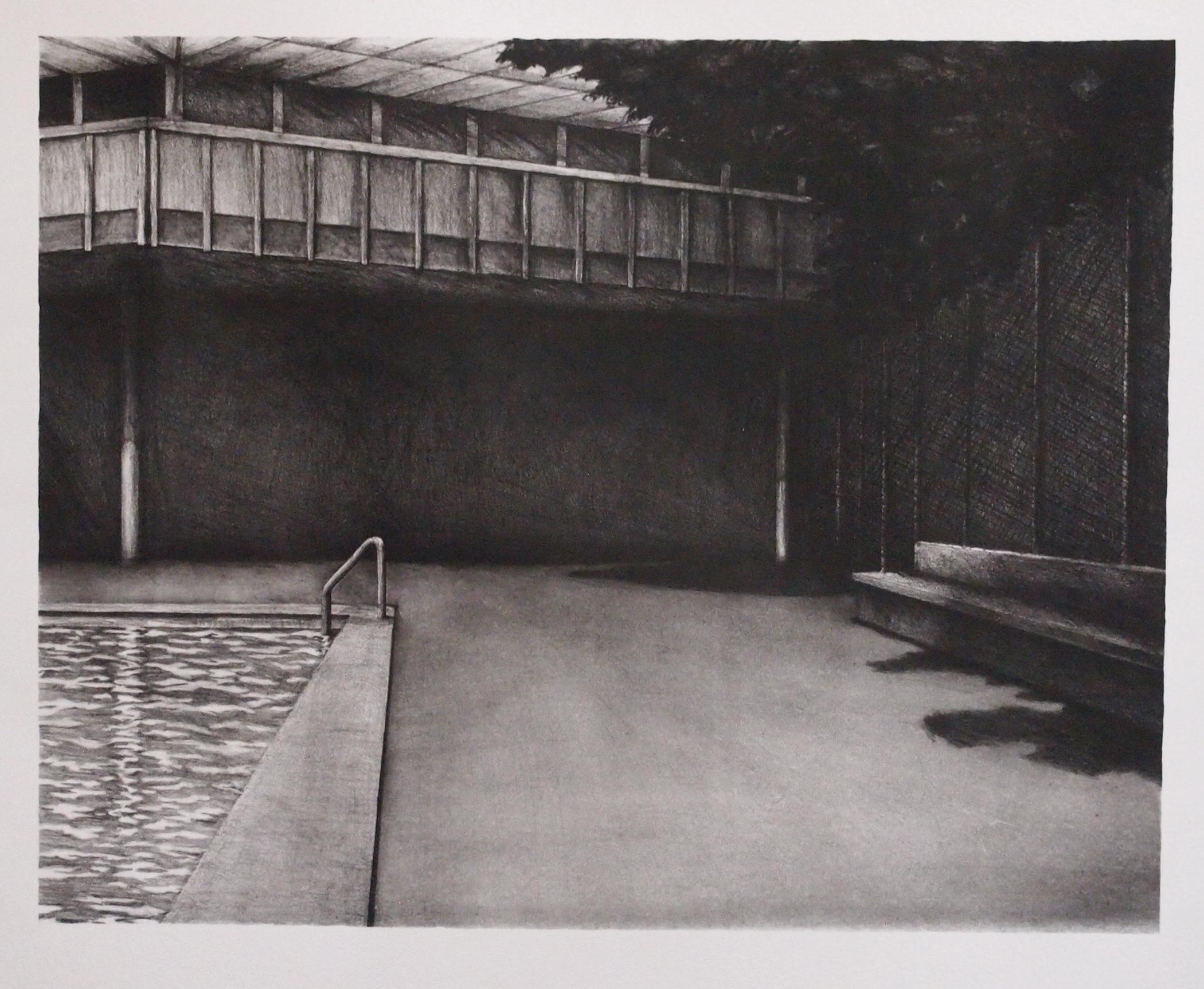 "Peter Baczek ""Poolside"" lithograph 11"" x 14"" 2020"