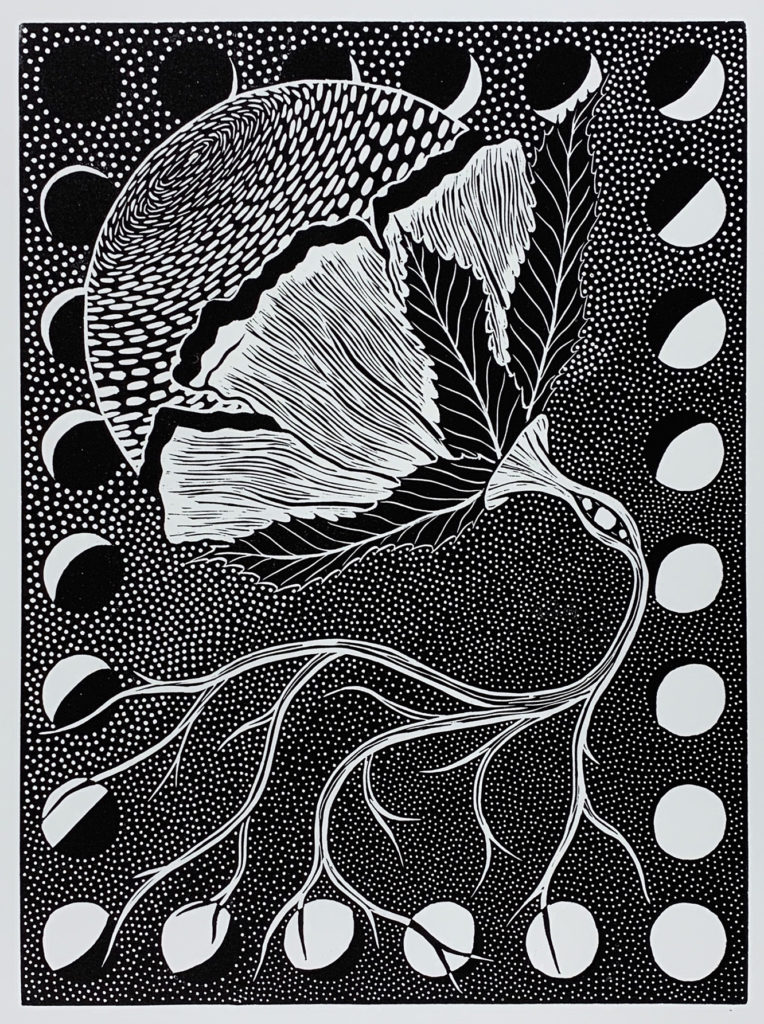 "Erica Barajas ""Burgeoning Transitions"" linocut, 11 x 14, 2020"
