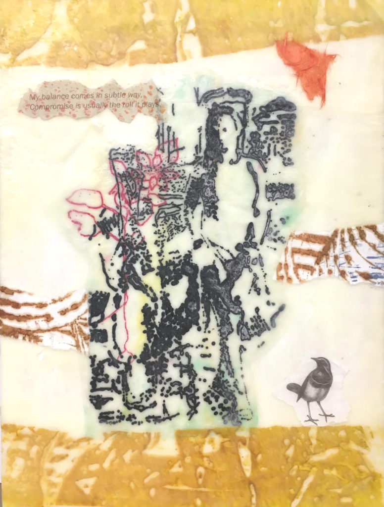 "Bonnie Randall Boller ""Searching for Meaning"" printmaking & encaustic mixed media 16"" x 12"" 2019"