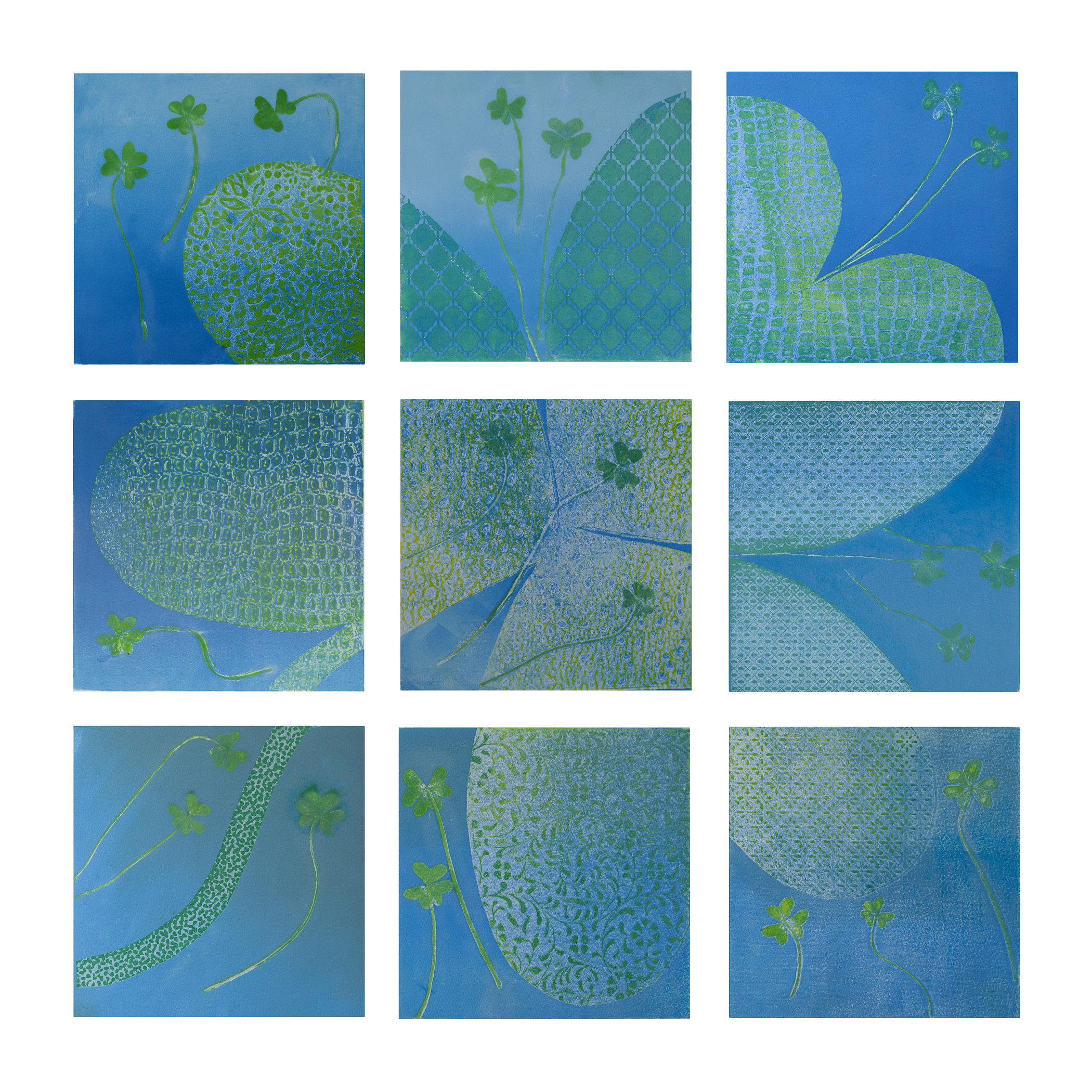 "Carol Brent Levin ""Oxalis"" monotype on Hanamuhle Copperplate 26"" x 26"" 2015"