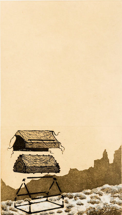 "Brett Day ""Refuge"" etching with chine collé 28"" x 20"" 2019"