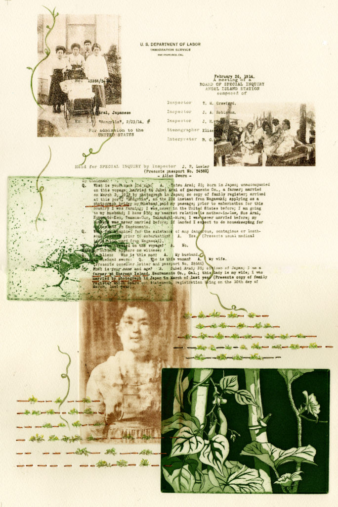 "Shari Arai DeBoer ""Married by Photograph"" etching, photocopy transfer, pencil, linen thread 18"" x 12"" 2019"
