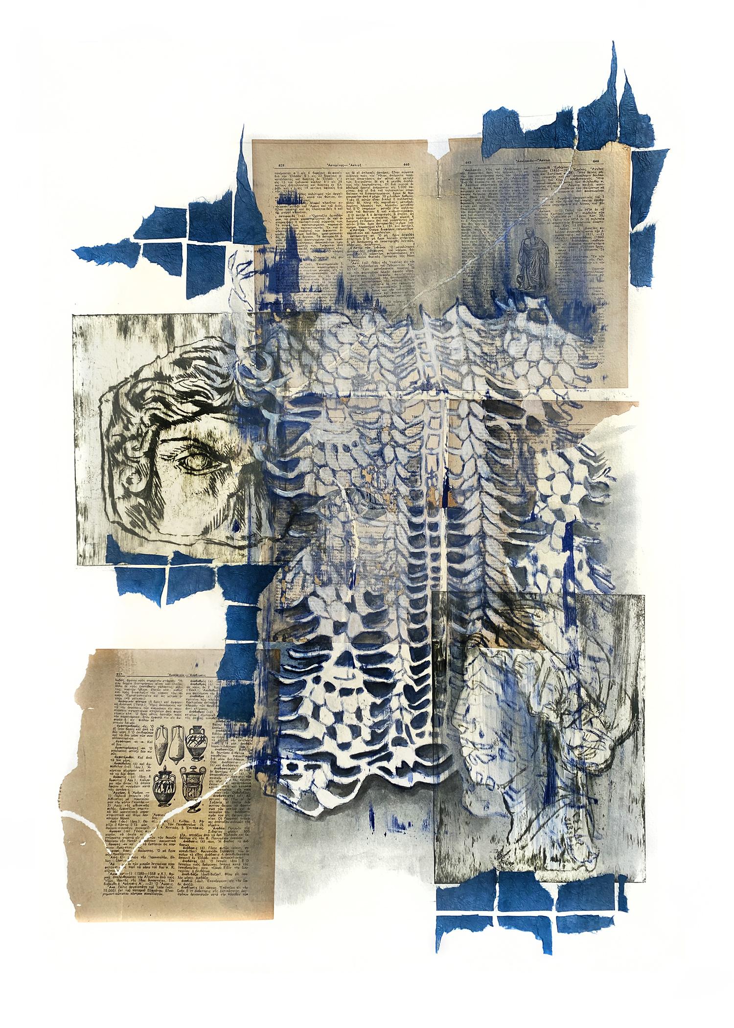 """Kate Deak """"Skopelos ενα"""" drypoint, etching, gouache, collage 30"""" x 22.5"""" 2019"""