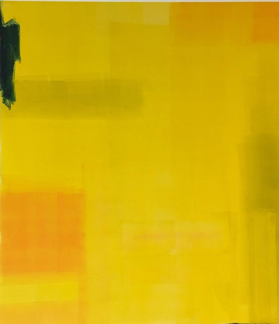 "Laurie Blessen ""Inside the Yellow Edges No.3"" monotype 26"" x 22"" 2019"