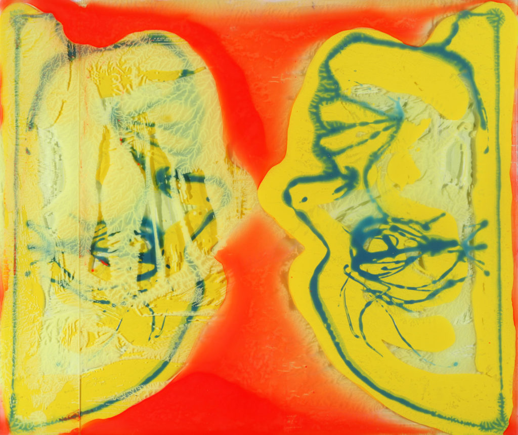 "Nikolas Soren Goodich ""Inverted Double Portrait"" (The Old Old Me and the New New Me too) acrylic monotype on layered plexiglass on wood panel 24"" x 28.5"" 2020"
