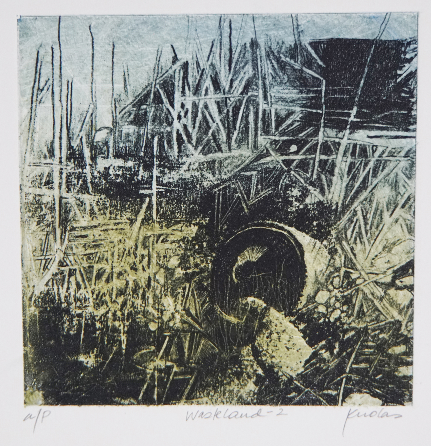 "Danguole Rita Kuolas ""Wasteland"" photopolymer etching 7"" x 7"" 2019"