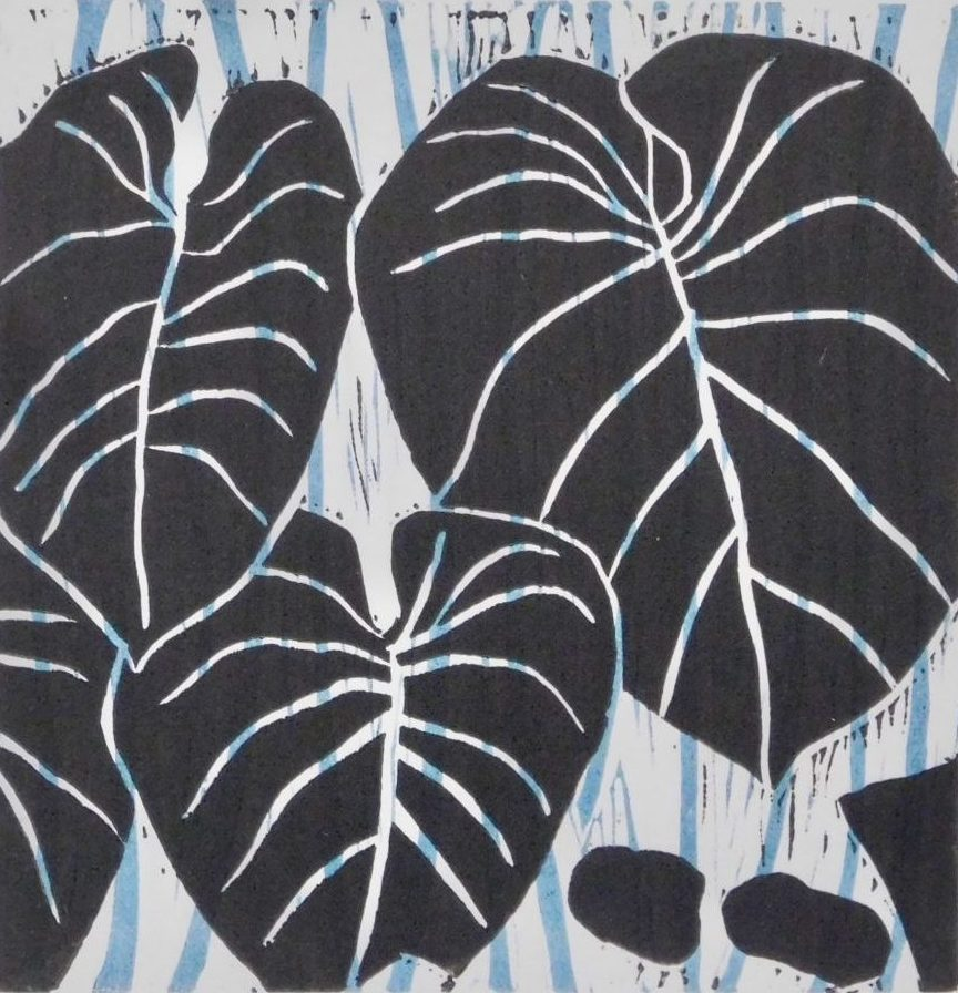 "Dixie Laws ""Square Philodendron - Black"" color linocut 6"" x 6"" 2019"