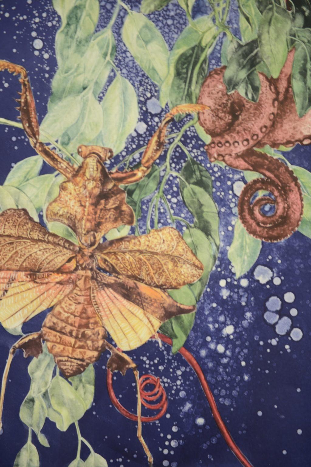 "Katherine Levin-Lau ""Dead Leaf Mantis"" monotype 30""x22"" 2020"