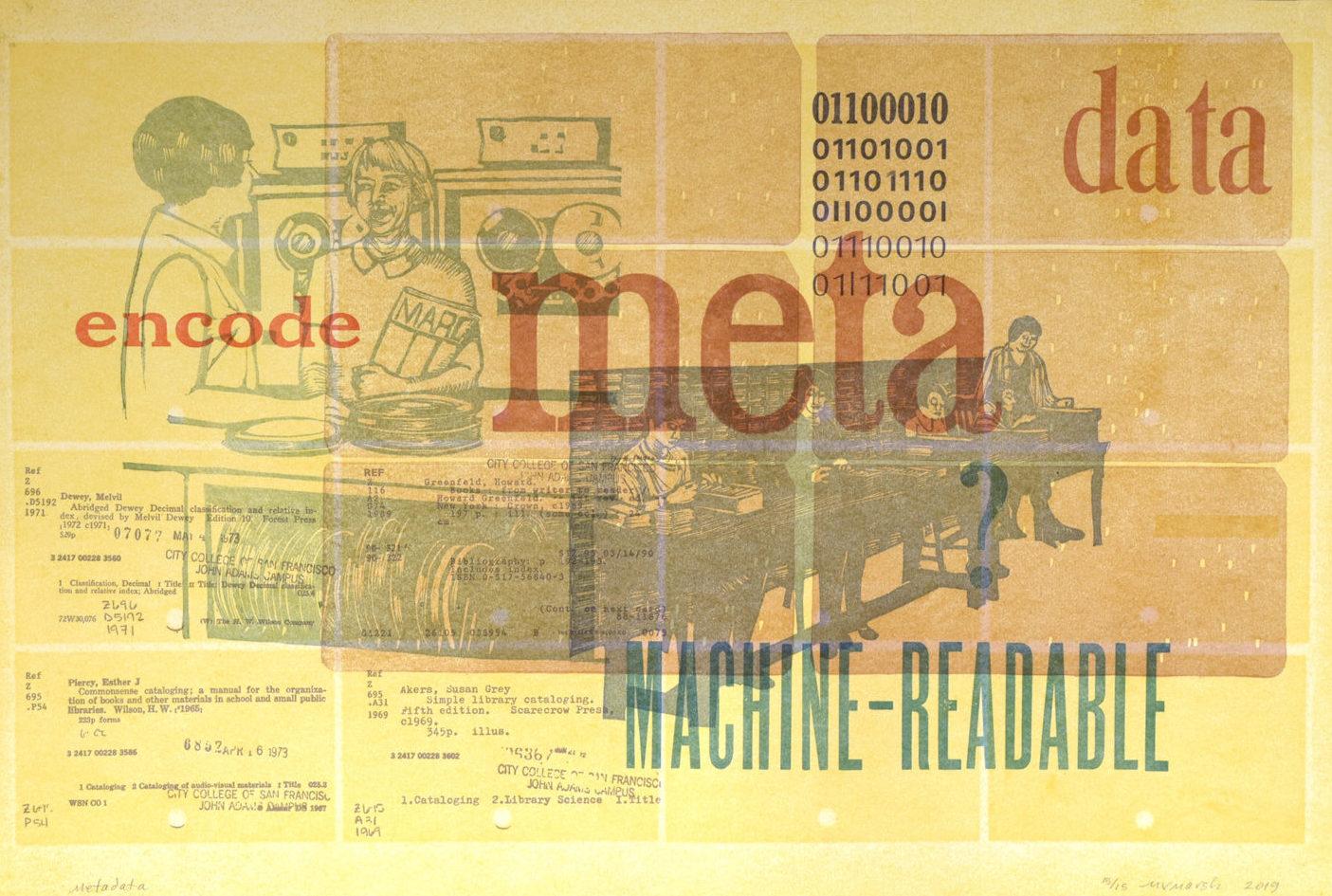 "Mary V. Marsh ""Metadata"" linocut, handset type, polymer plate on Stonehenge 14"" x 21"" 2019"