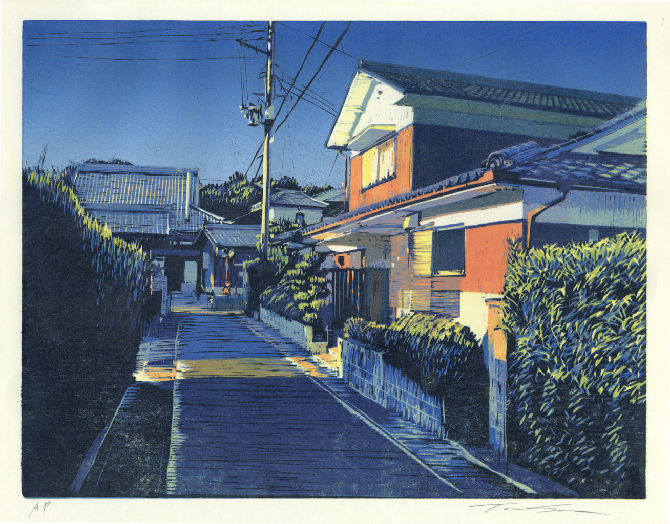 "Toru Sugita ""The Corner - Jomanji II"" reduction woodcut 11"" x"