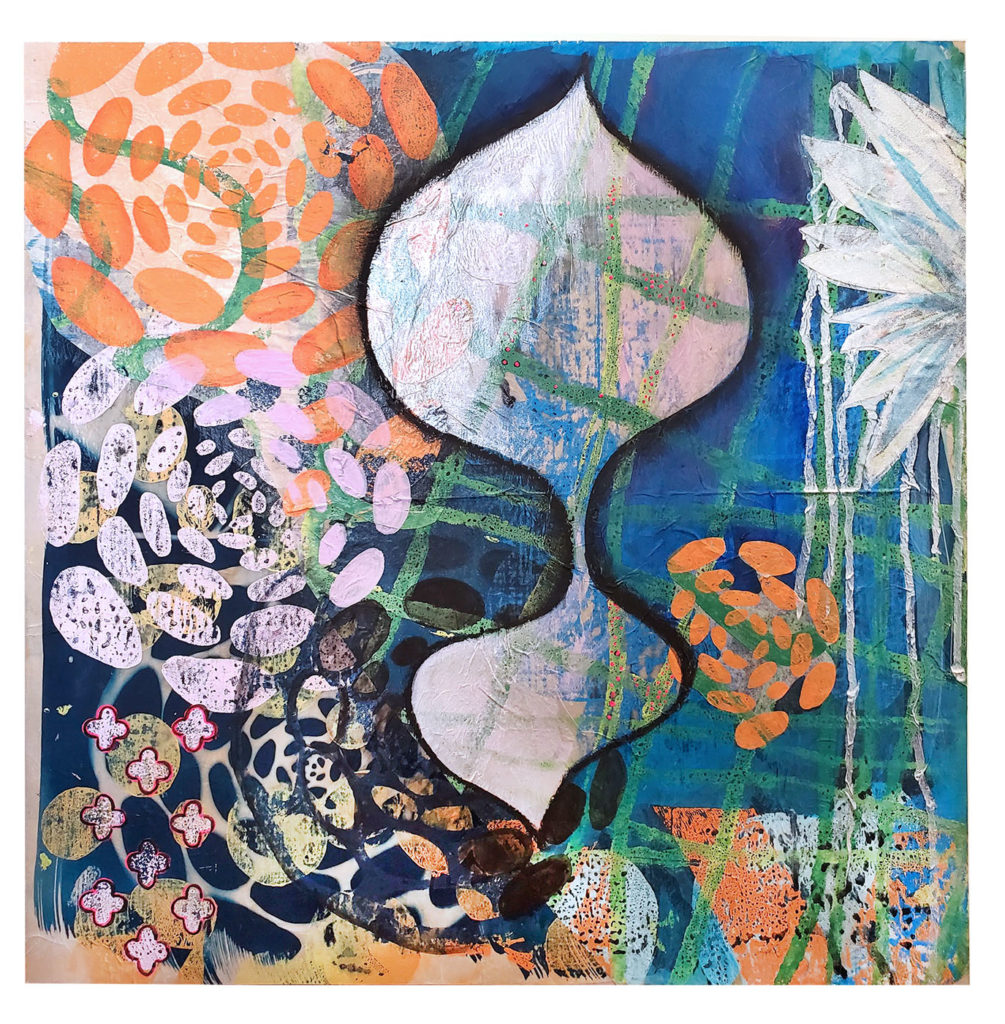 "Ashley Rodriguez Reed ""Shimmer"" block print, cyanotype and paint on paper"