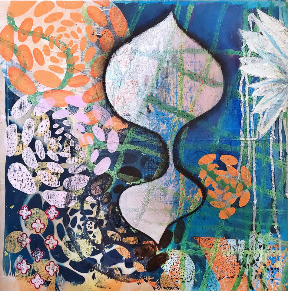 """Ashley Rodriguez Reed """"Shimmer"""" block print, cyanotype and paint on paper"""