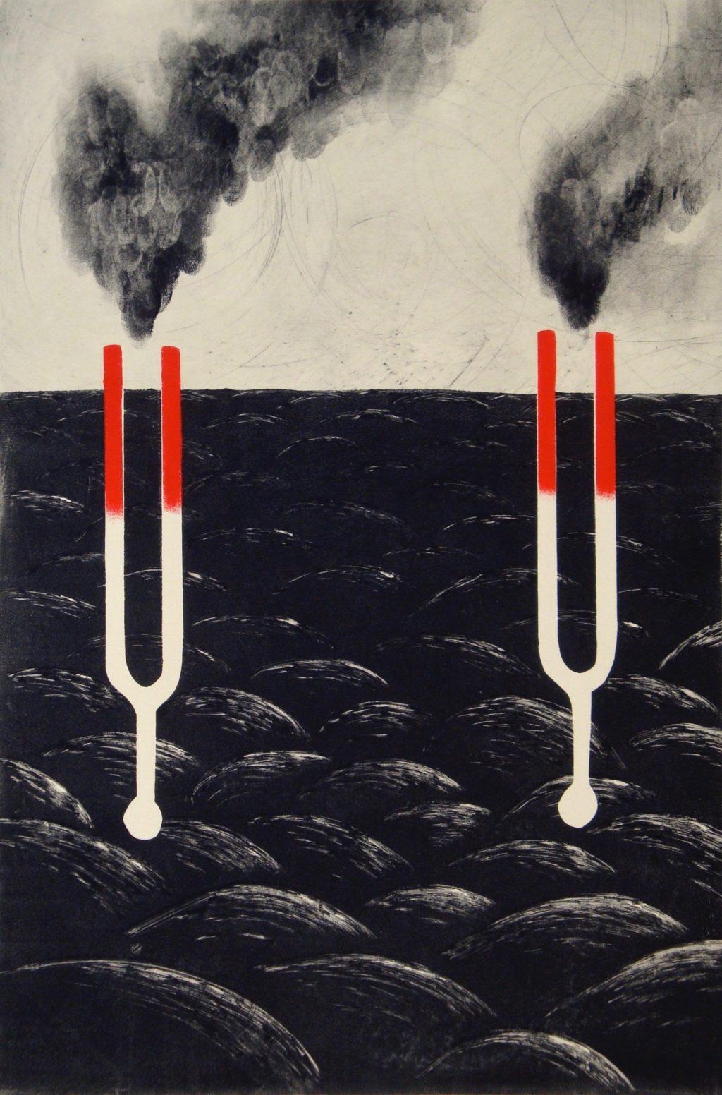 """Herlinde Spahr """"Pitch XVII"""" monotype 15"""" x 10"""" 2009"""