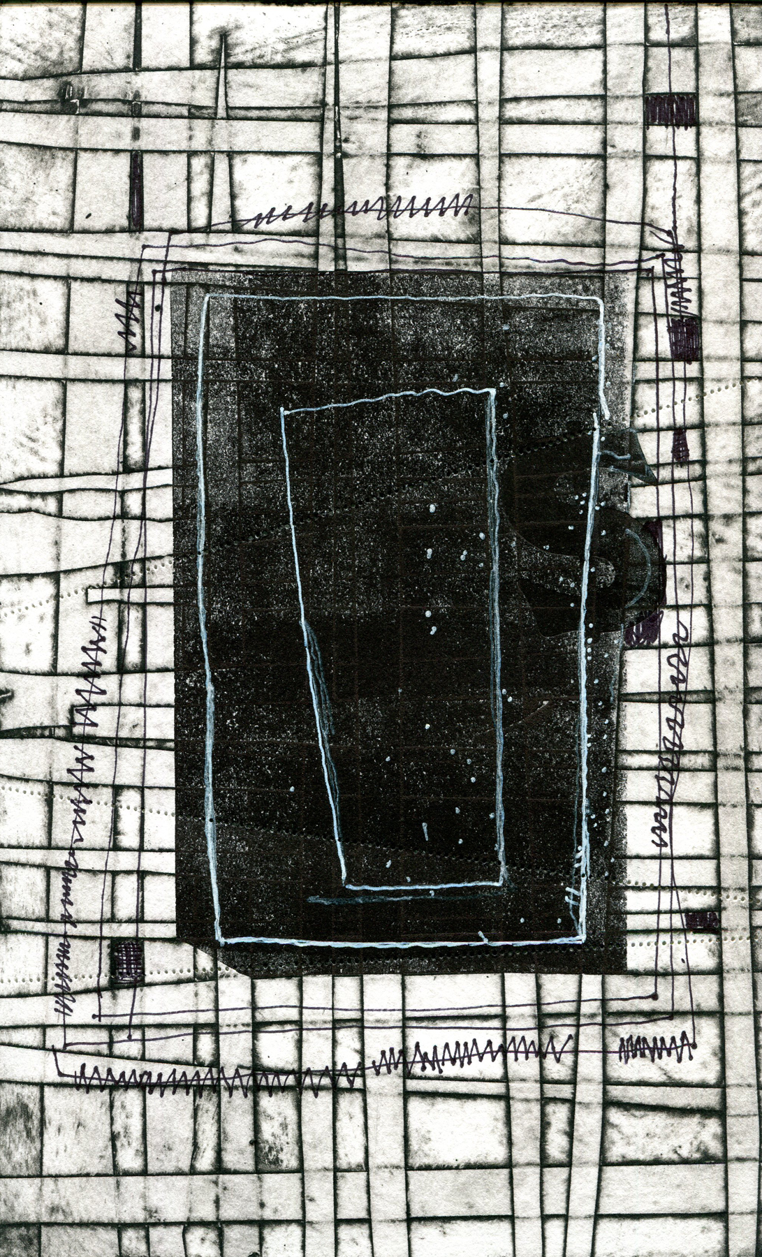 """Jami Taback """"Another Night"""" Collagraph and Linocut with drawing 15 x 11 inches 2019"""