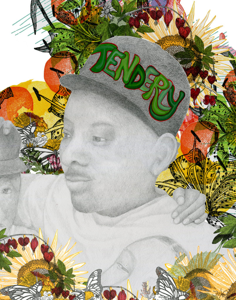 "Kim Vanderheiden ""Tenderly. Father Returns"" pencil, letterpress. Acrylic, digital 12 x 9.5"" 2020"