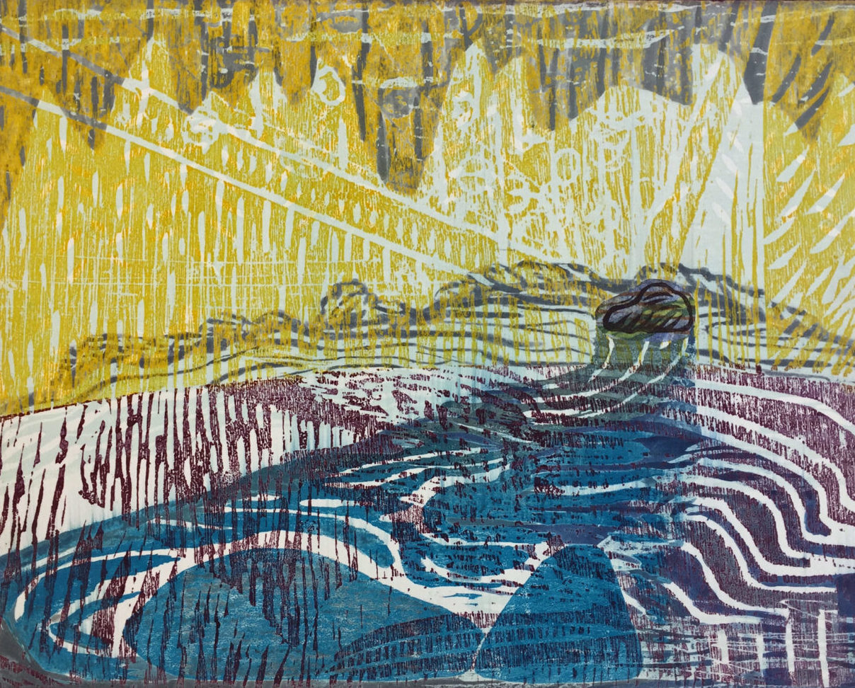 "Sara Woodburn ""Rain Dance"" woodcut, mixed media 12"" x 15"" 2016"