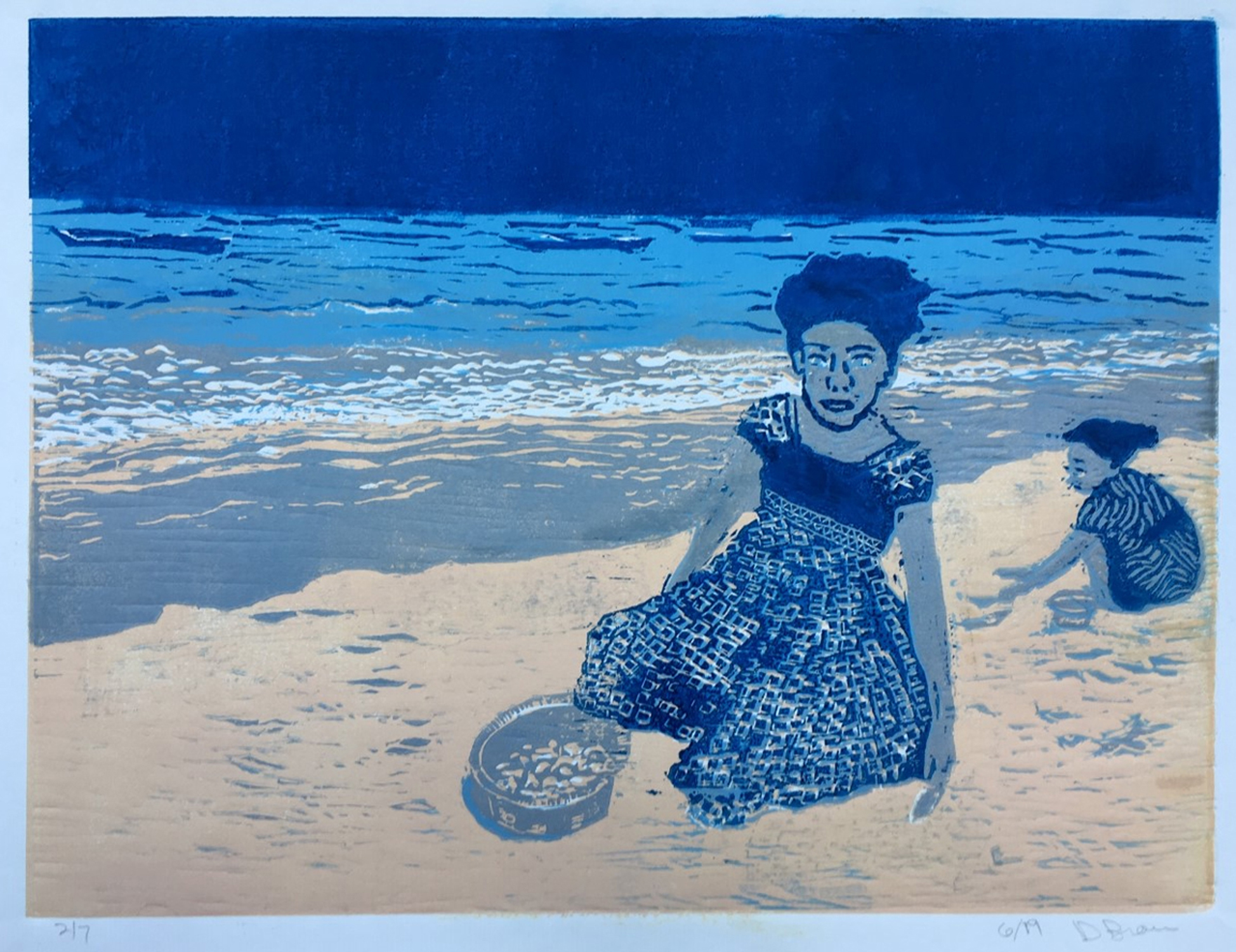 "Donna Brown ""Zanzibar Girls"" reduction woodcut 12"" x 16"" 2019"