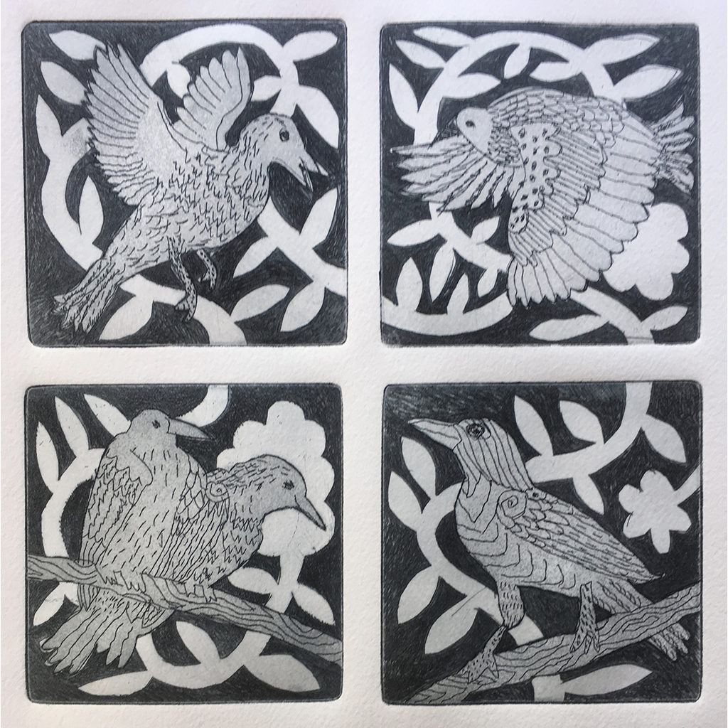 "Dana Zed, For Birds in Community, 4 Clouds, 13 Feathers, One Egg, etching, 7.5"" x 6"", 2019"