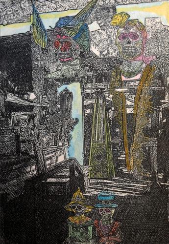 Arturo Araujo, Nada Detrás del Espejo, Nothing Behind the Mirror, Photoengraving and hand coloring, 7.75 x 5.75 in, 2021