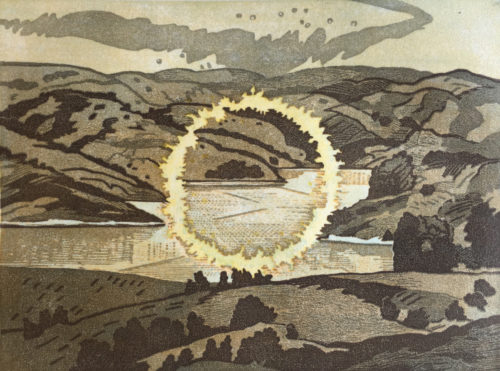 Donna Westerman, Ring of Fire at Briones, multiple block reduction woodcut, 9 x 12 in, 2020