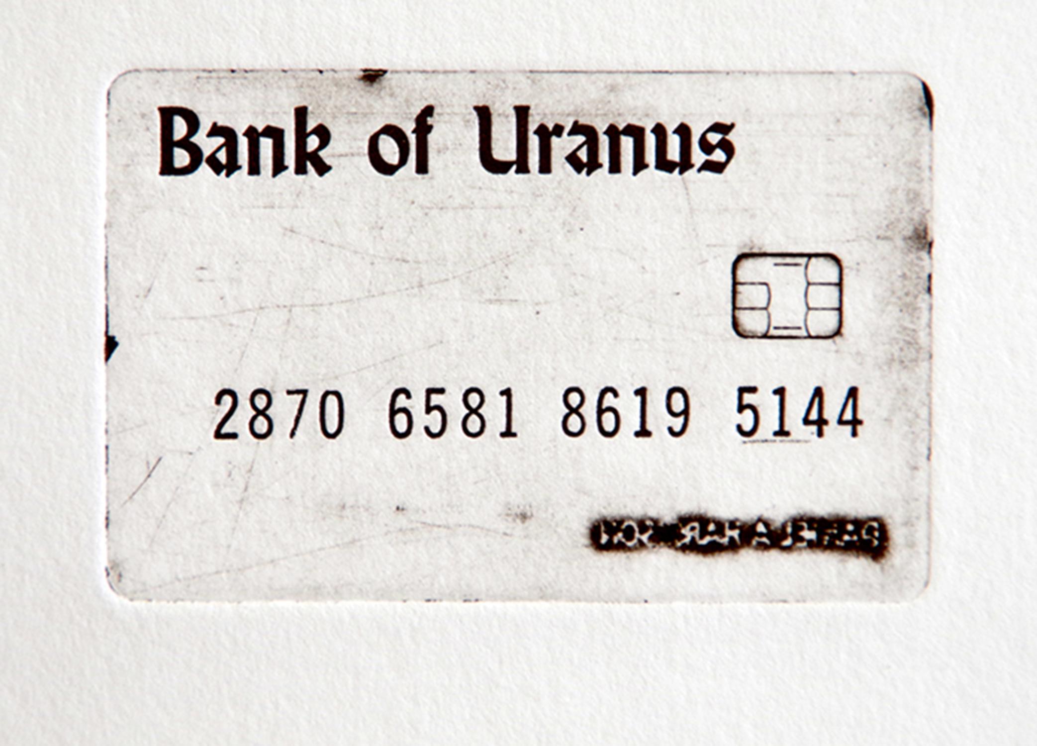 H J Mooij, Chip reader broken please swipe Credit card, letterpress, 2.5 x 3.5 in, 2019