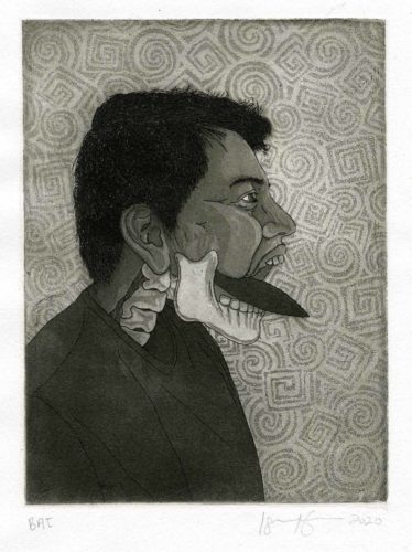 Israel Campos, Self-Portrait with Tecpatl, Etching and aquatint, 8 x 6 in, 2020