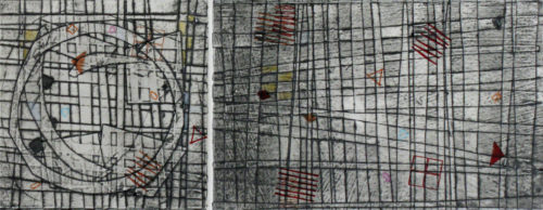 Jami Taback, Wayfinding 2, Collagraph Print Diptych with Letterpress on Handmade Paper, 18 x 12 in, 2020