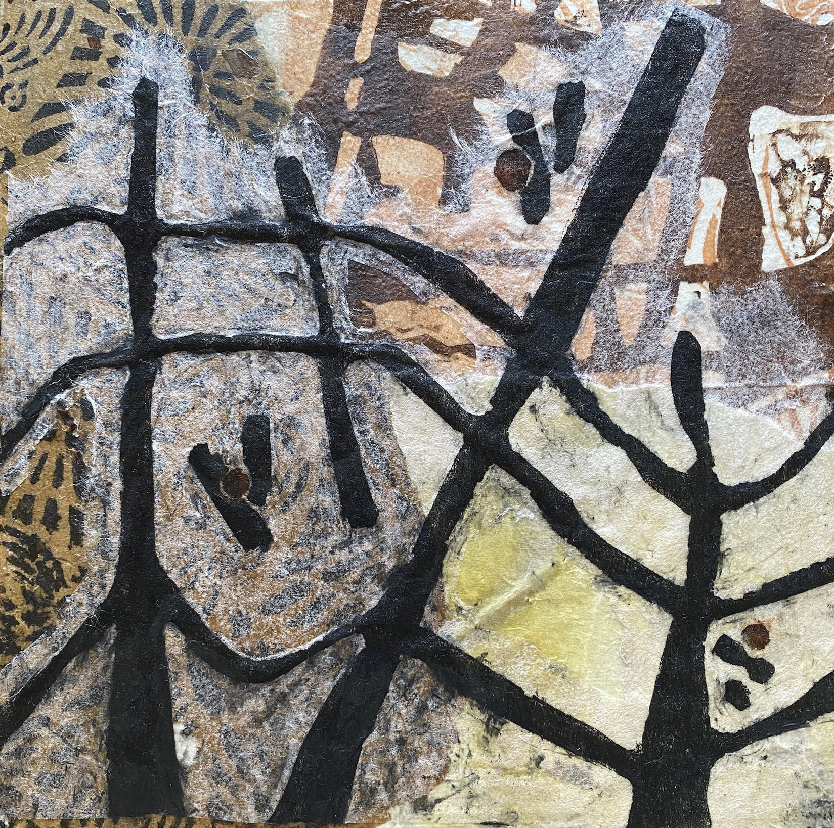 Janis O'Driscoll, Which Way Which Way, Relief and eco prints collage with wax on wood panel, 8 x 8 in, 2021