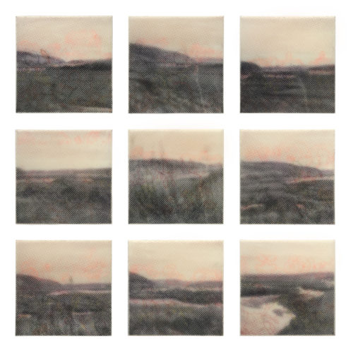 Karen Gallagher Iverson, Wine Dark Tides, Point Reyes Tidal Flats 1-9, Pochoir printed and drawn colored pastel on wax on nine panels, 18 x 18 in, 2019