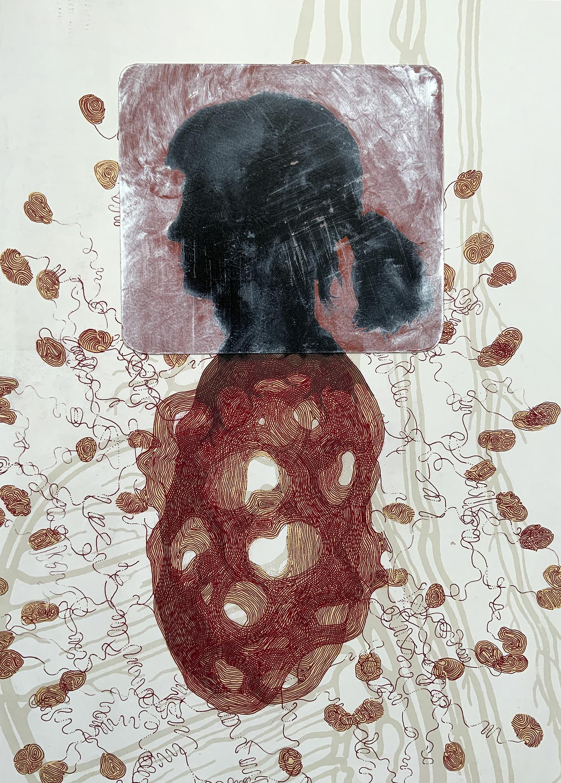 Kent Manske; You, I, Me, We, Us; monoprint, 21.5 x 15.5 in, 2021