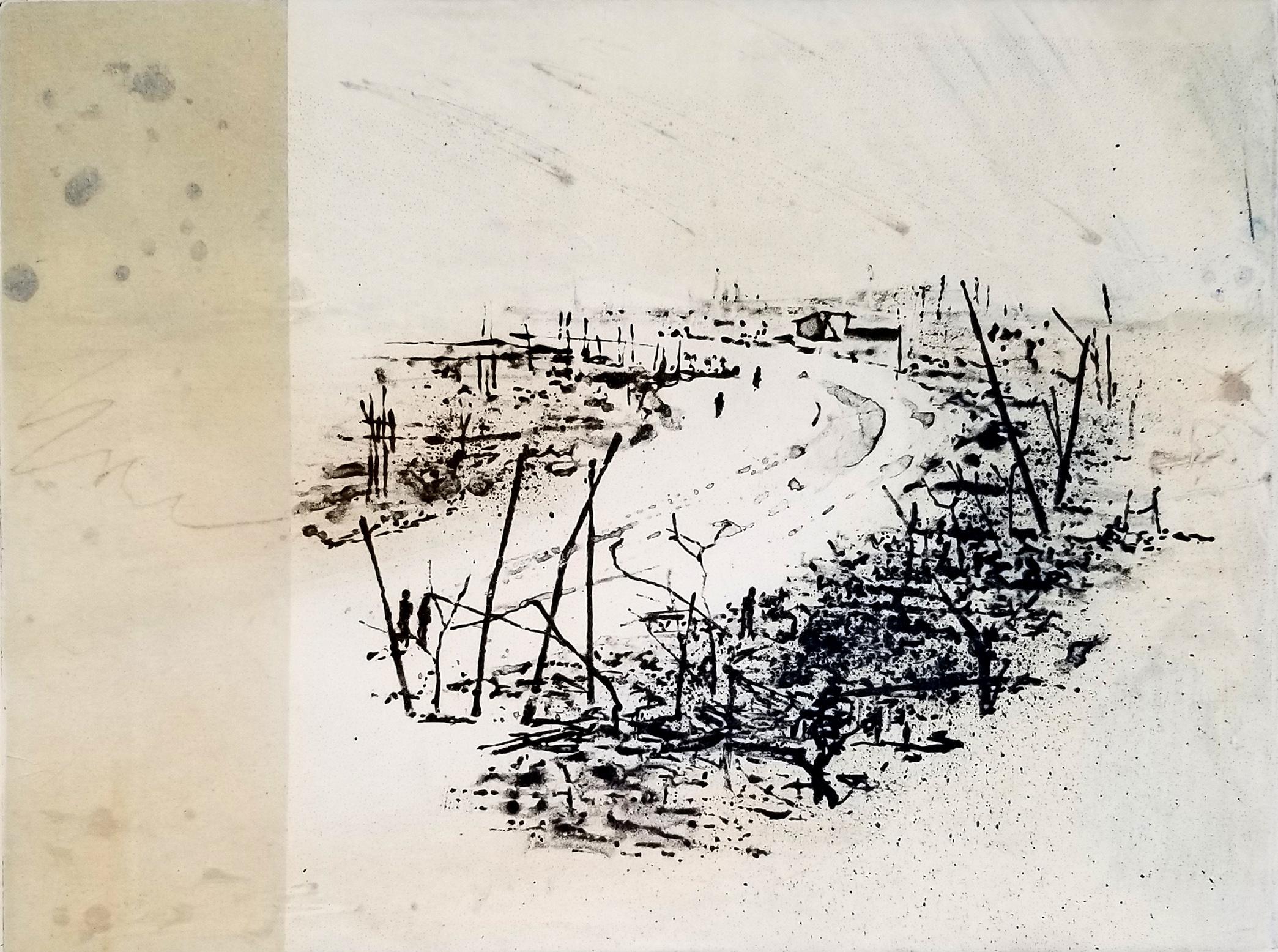 Linda Yoshizawa, Mecha Kucha, Solarplate etching and collage, 6 x 8 in, 2018