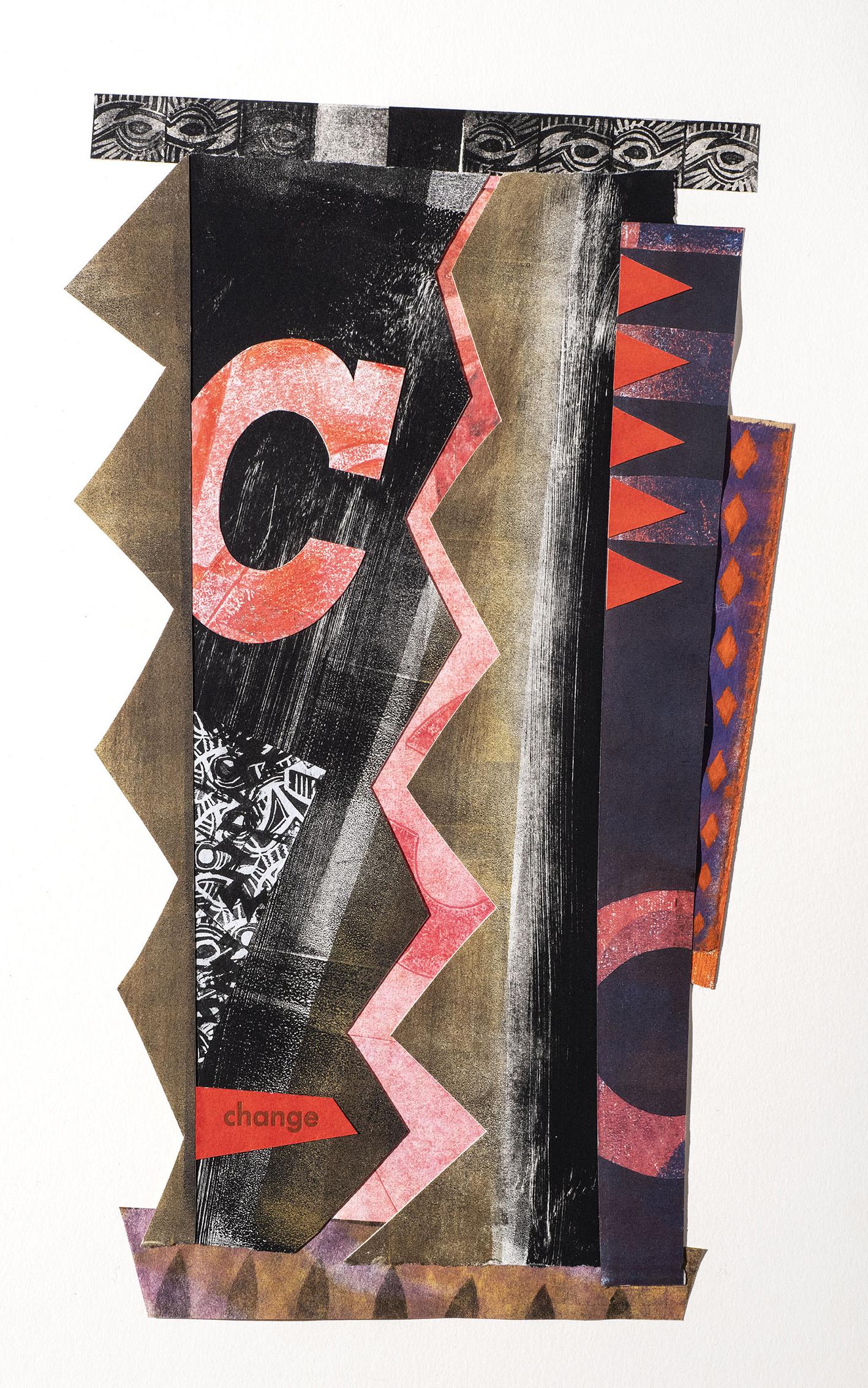 Luz Marina Ruiz, Change, Collage monotype linocut and letterpress, 16 x 10 in, 2021