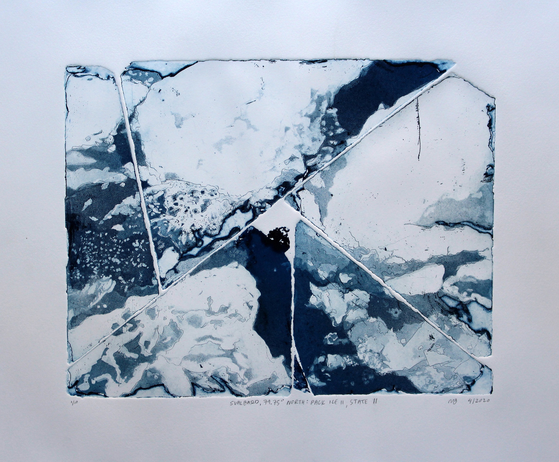 Megan Broughton; Svalbard, 79.75° North, Pack Ice II, State II; intaglio hardground etching and aquatint; 18 x 21 in; 2020