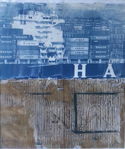 Michael OShea, Hanjin in Hanjin out, Collagraph and Cyanotype, 24 x 18 in, 2019