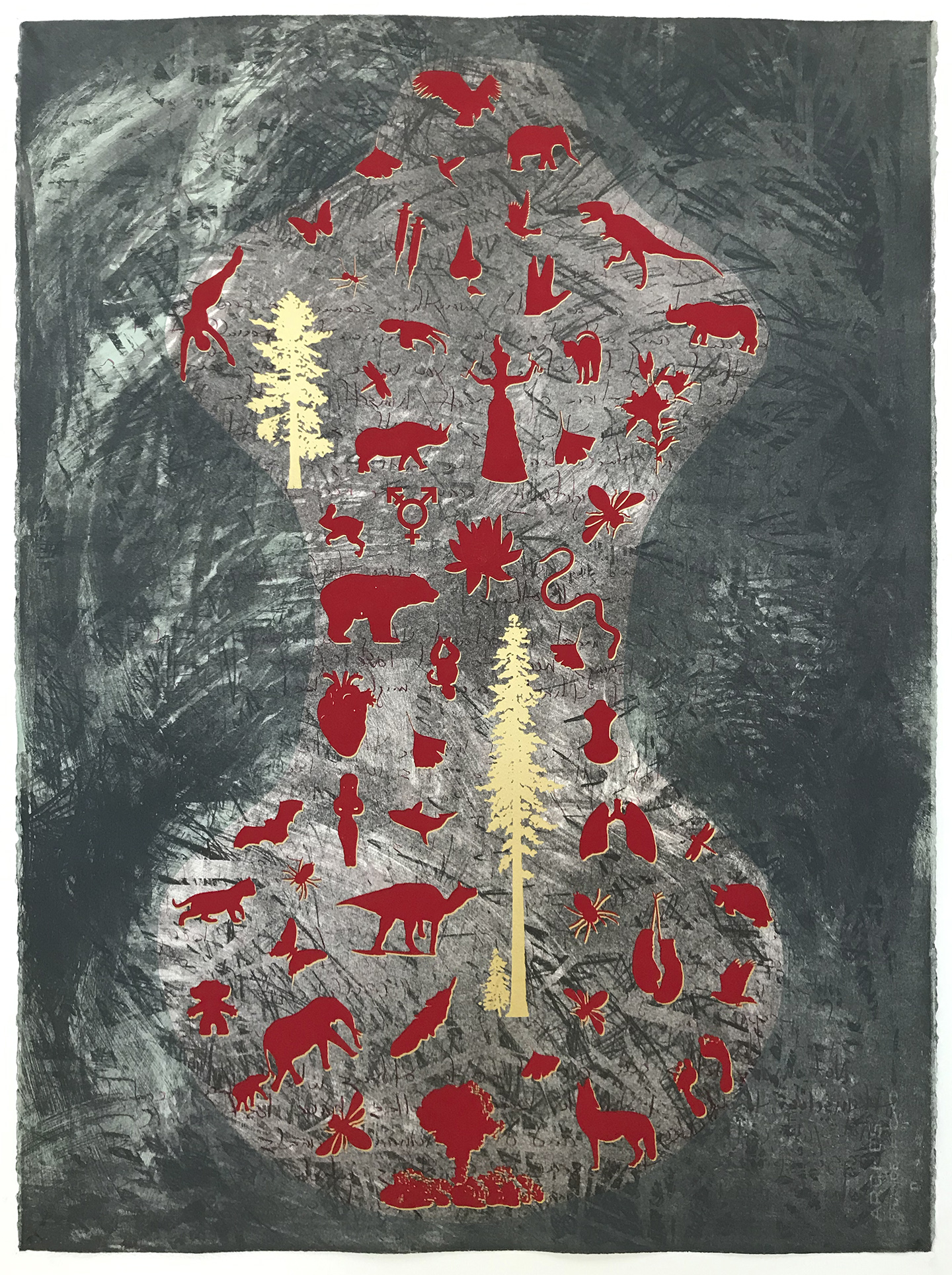 Nanette Wylde, Milagros for Times Like These II, Lithography and screen print, 30 x 22 in, 2021