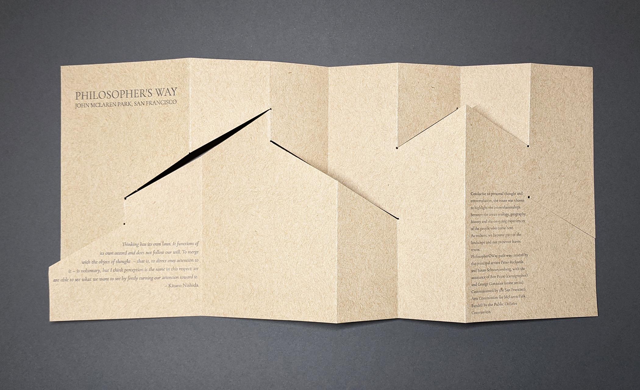 Rhiannon Alpers, Philosophers Way, Artist's Book, folded broadside letterpress printed, handcut, 6.25 x 14 flat, 6.25 x 3.5 folded, 2021