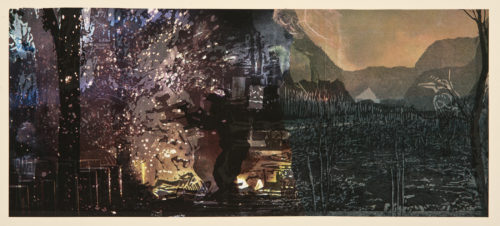 Robynn Smith, August 9, Relief print and collage, 6 x 17 in, 2020