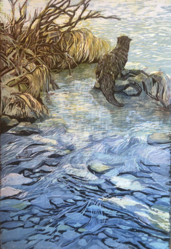 Millie Whipplesmith Plank, Where the River Flows, woodcut print, 22 x16 in, 2020